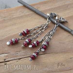 różowy turmalin wiszące srebrne kolczyki na sztyftach, turmalin, srebro