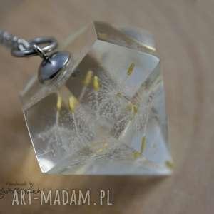 Wisiorek diament z żywicy nasionami dmuchawca, stal chirurgiczna