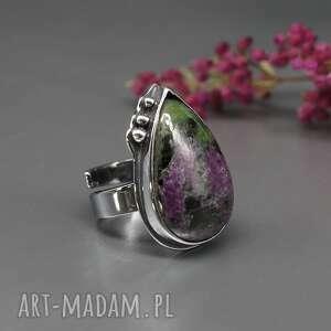 zoizyt z rubinem, pierścionek beldis, rubin, srebrny, srebro