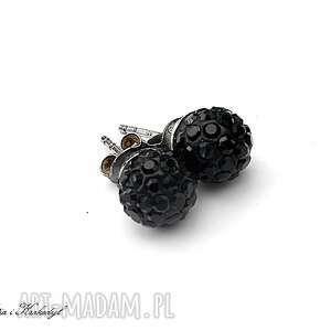 disco ball black - kolczyki, srebro, swarovski, sztyfty, drobne, delikatne biżuteria