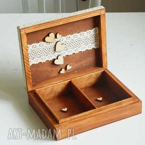 Pudełko szkatułka na obrączki ślubne, ślub, pudełko-na-obrączki, koronka,