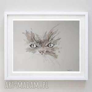 oczy - praca formatu 21/28,2 cm, oczy, papier, cienkopis, kot, tusz
