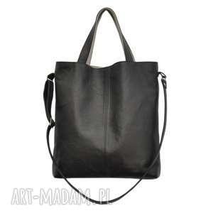 16-0030 czarna duża torebka damska z paskiem na ramię jay, torebki-skórzane