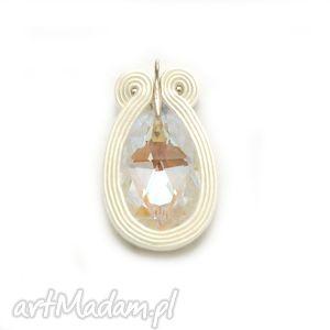 wisiorki wisiorek z kryształem swarovskiego, sznurek, soutache, swarovski