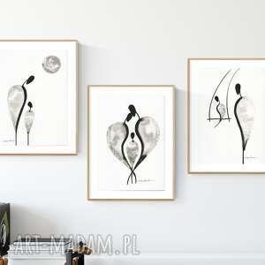 zestaw 3 oryginalnych grafiki czarno-białych a4, abstrakcja, elegancki
