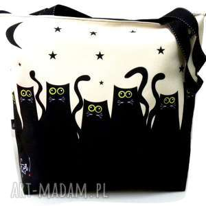 torba na zamek z motywem kotów, pojemna, koty, xxl