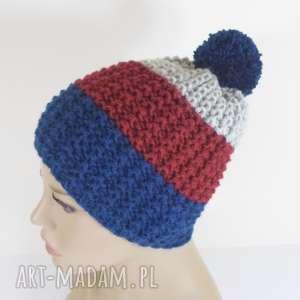 trójkolorowa czapka narciarska - czapka, narciarska, na-narty