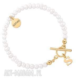 sotho złota bransoletka z pereł naturalnych z literką - zapięcie