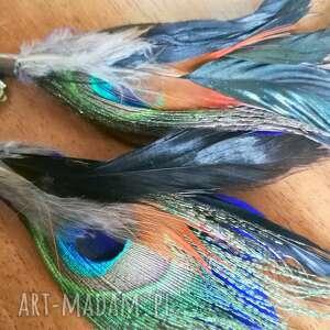 klipsy pióra długie lekkie niebiesko brazowo-rude - pawie pióra - box x1