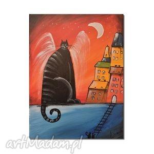 kot anioł, obraz ręcznie malowany - kot, koty, aniol, obraz, ręcznie, malowany