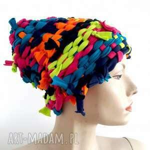 katarzyna staryk czapka tkana kolor#6, tkana, oryginalny prezent, tęcza