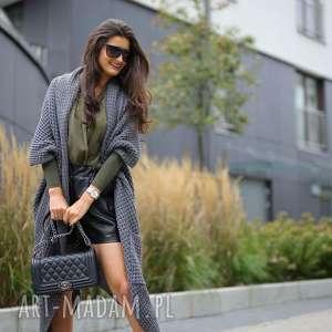 asymetryczny długi sweter płaszcz - swetry, płaszcze ciepły