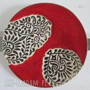 ceramika czerwony etno malutki talerzyk, fusetka, ceramiczny indyjski
