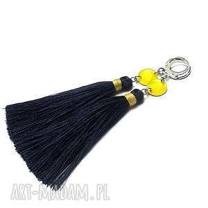 Alloys Collection - Boho /navy and yellow/ kolczyki, stal, szlachetna, chwosty
