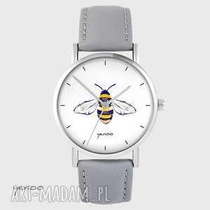 ręczne wykonanie zegarki zegarek - pszczoła skórzany, szary