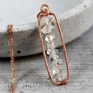 925 Srebrny / 18k Pozłacany łańcuszek Diament z Herkimer