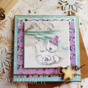 ręczne wykonanie świąteczny prezent kartka miś