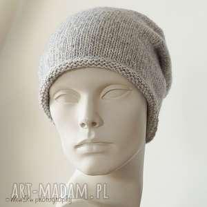 Jesienna szara, czapka, bawełniana, wełniana, dziergana, smerfetka, unisex