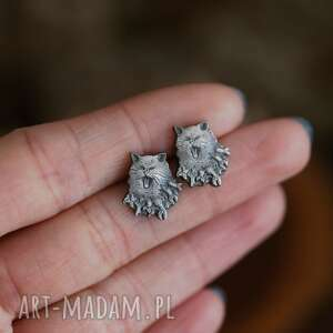 kolczyki mini kotki z rybami sztyfty ze srebra, biżuteria kotami, srebrne