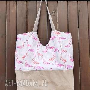 torba oversize flamingi - ,torba,oversize,flamingi,duża,wegańska,plażowa,
