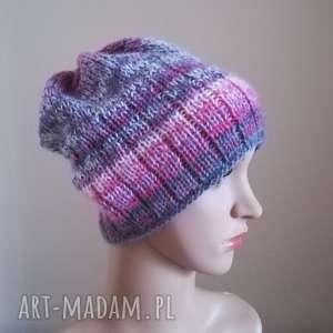 włóczkowa impresja 1 - czapka, rękodzieło, zima, prezent