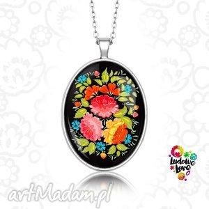 medalion owalny ludowy bukiet - folk, folklor, polskie, wzory, ludowe, kwiaty