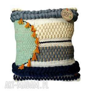 poduszka dekoracyjna, wełniana, tkana na krośnie, tkana, wełniana