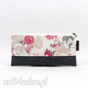 piórnik kosmetyczka jeans shabby chic 05, kosmetyczka, piórnik, róże