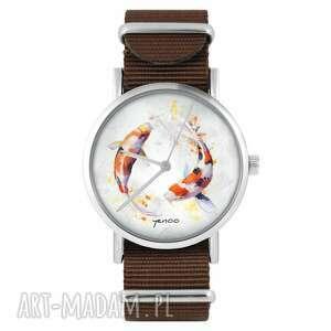 ręcznie robione zegarki zegarek yenoo - karpie koi brązowy, nylonowy