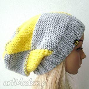 czapka w kratę szaro-żółtą unisex - czapka, krata, kratka, unisex