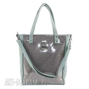 torba damska cuboid szara pistacja, modna, elegancka, wygodna, pojemna, do biura