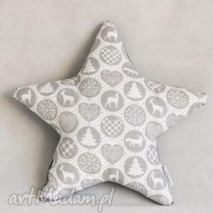 ręcznie zrobione pomysł na prezent święta %wiąteczna poduszka gwiazdka szaro-granatowa