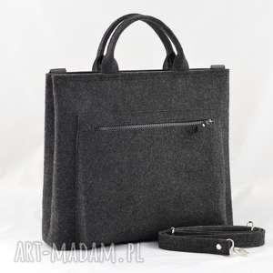 Duża grafitowa torebka- torba na laptopa minimalistyczna, laptop, torba, pasek