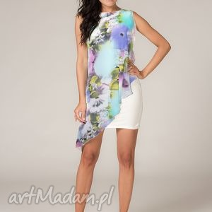 Sukienka z woalką Lila 3, lekka, zwiewna, kobieca, wygodna, kwiaty, woalka