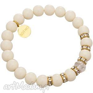 bransoletka ecru kość słoniowa perły ivory kryształy