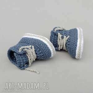 trampki stanford, buciki, trampki, niemowlęce, szydełkowane, bawełniane, prezent