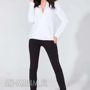 bluzka koszulowa z kopertowym przodem t131 biały, bluzka, koszula, koperta, luźna