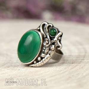 pierścionki pierścionek srebrny z malachitem a604