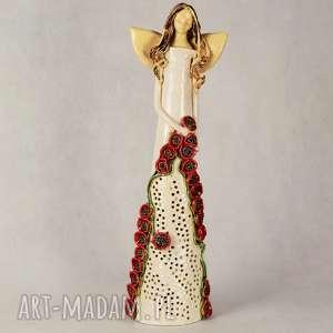 ceramika anioł ceramiczny lampion wysoki, ceramiczny, wykonany ręcznie