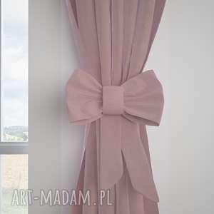 dekoracje zasłona tweed jodełka lila, zasłona, zasłonka, kokardka