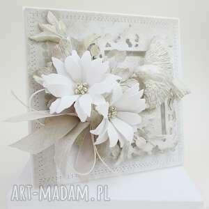 biel, krem i złocenia - w pudełku, życzenia, ślub, urodziny, imieniny