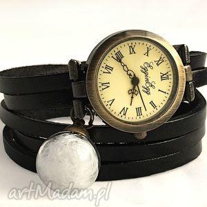 hand-made zegarki piórka - zegarek/bransoletka na skórzanym pasku