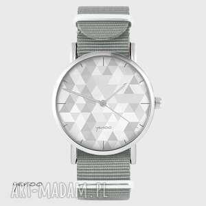 handmade zegarki zegarek yenoo - geometric szary szary, nato
