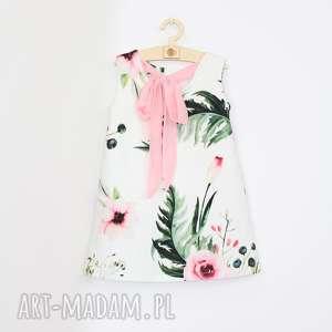 sukienka trapezowa z kokarda, kwiatowa, trapezowa, zkokarda
