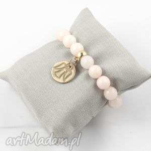 bransoleta pudrowy róż z aniołem , muffin, jadeit, wiosna, anioł biżuteria