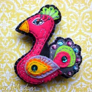 paw-broszka z filcu - broszka, filc, paw, kolory, prezent