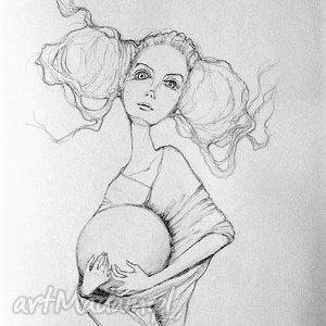 Rysunek wykonany ołówkiem Kula artystki plastyka Adriany Laube, kobieta, ołówek