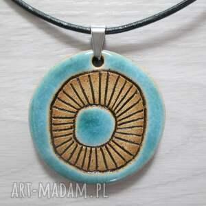naszyjnik turkusowy z wzorami, wisiory ceramiczne, ceramiczny