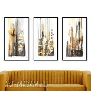 tryptyk - abstrakcje zestaw 3 prac 40cm x 68cm, ręcznie malowane, abstrakcja