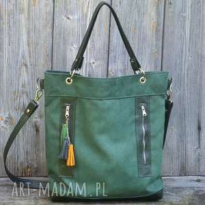 torba zielona plus skóra, torebka, kieszenie, praktyczna, pojemna, alkantara